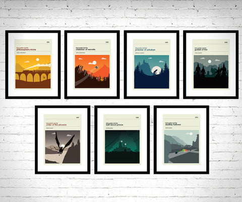 Harry Potter Inspired Framed Book Cover Set of 7 Prints