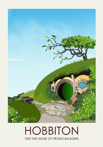 Lord of the Rings Inspired Framed Travel Print - Hobbiton