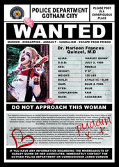 "Harley Quinn ""Suicide Squad"" Inspired Framed Wanted Print"
