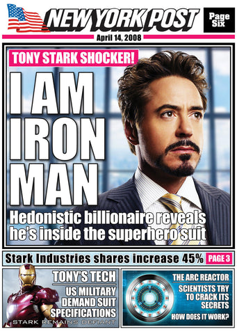 Ironman Inspired Framed Newspaper Print
