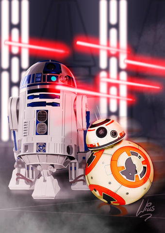 R2D2 and BB8 by Richard Williams