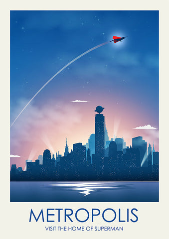 Superman Inspired Framed Travel Print