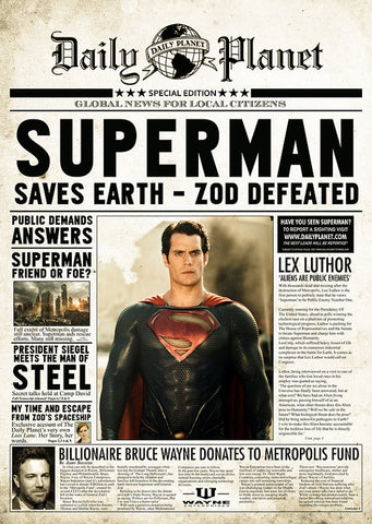 Superman Man of Steel Inspired Framed Newspaper Print