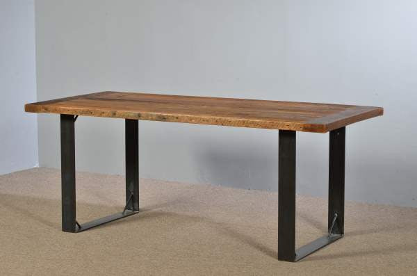 Farm Table with Open Steel Legs
