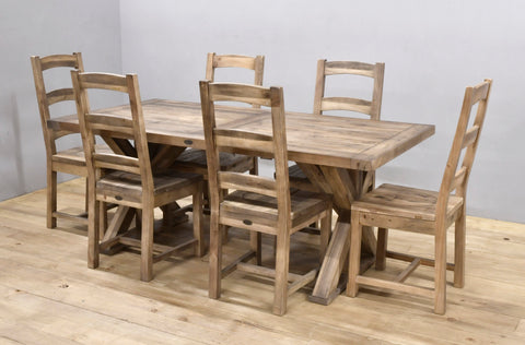 "Harvest Table 75"" Complete Set Rustic Natural"