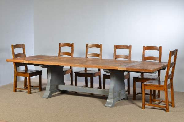 Farm Table With Tuscan Trestle Base Restored Timbers - Farm table trestle base