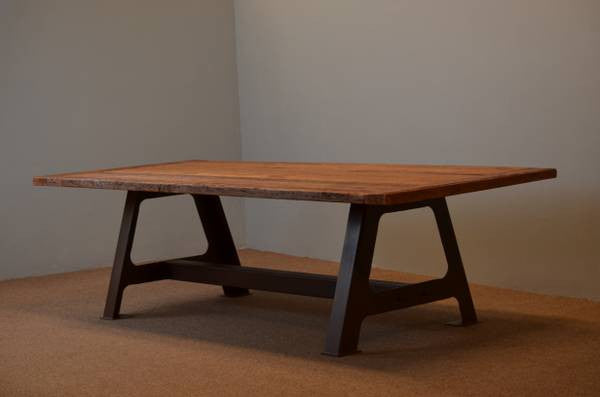 Farm Table with A Frame Steel Trestle Base