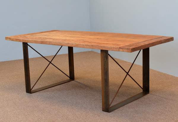 Farm Table with Flat Steel X Legs