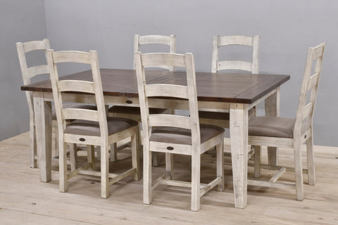 Large Butterfly Extension Farm Table with 6 Chairs Coffee Bean/Sandstone