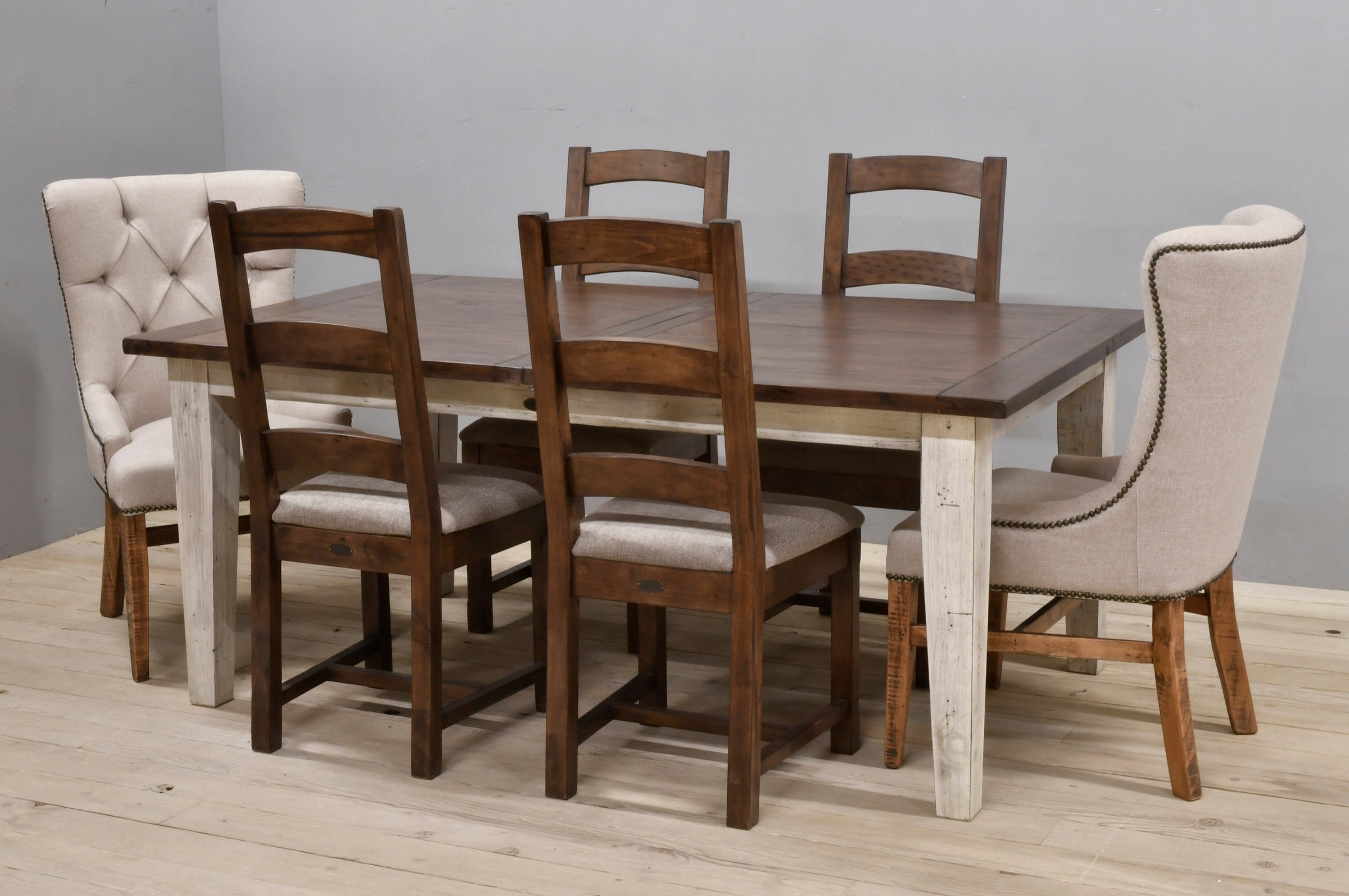 ... Large Butterfly Extension Farm Table With 6 Chairs Coffee  Bean/Sandstone ...