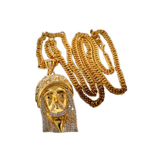 18K Jesus Piece Chain and Pendant