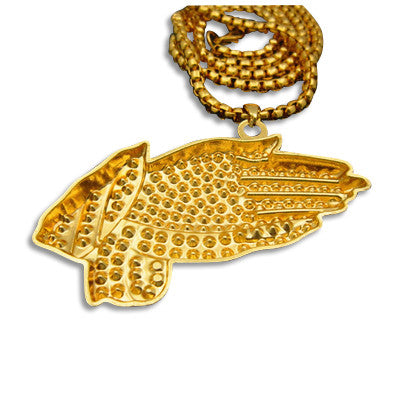 24K Gold Praying Hands Franco Chain Rear
