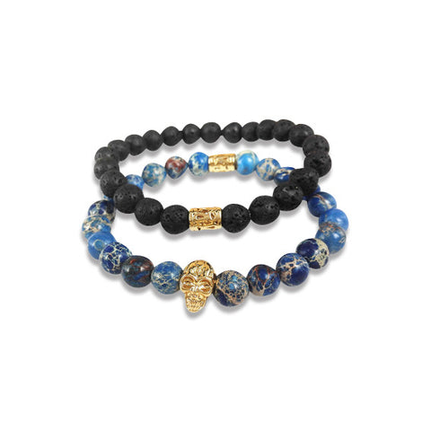 Lava Stone and 24K Gold Skull Blue Sea Sediment Bracelet Set