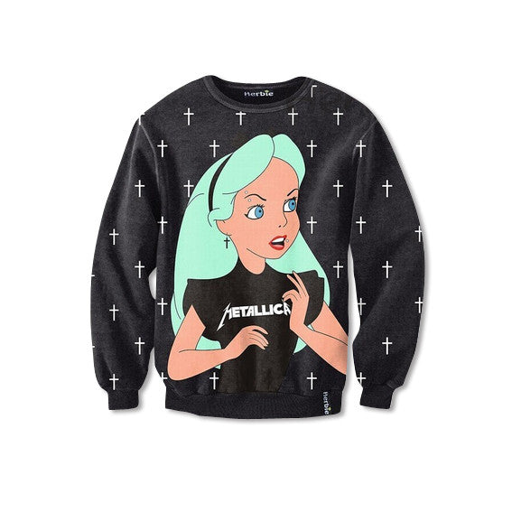 Alice in Wonderland Metallica Sweatshirt Front