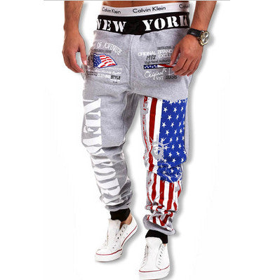 American Flag New York Joggers Grey