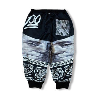 Black White Hundred Dollar Jogger Shorts