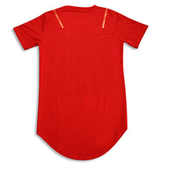 Broken Hole Extended Shirt with Shoulder Zippers Red Rear