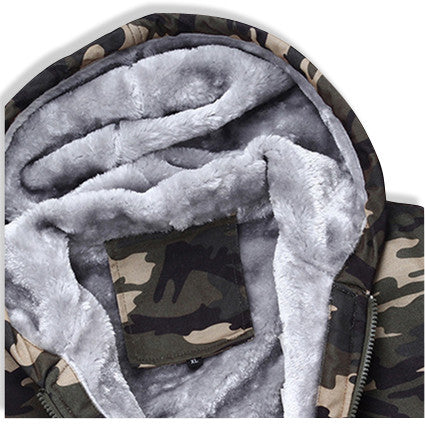 Camo Jacket with Fur Lined Interior Hoodie Closeup