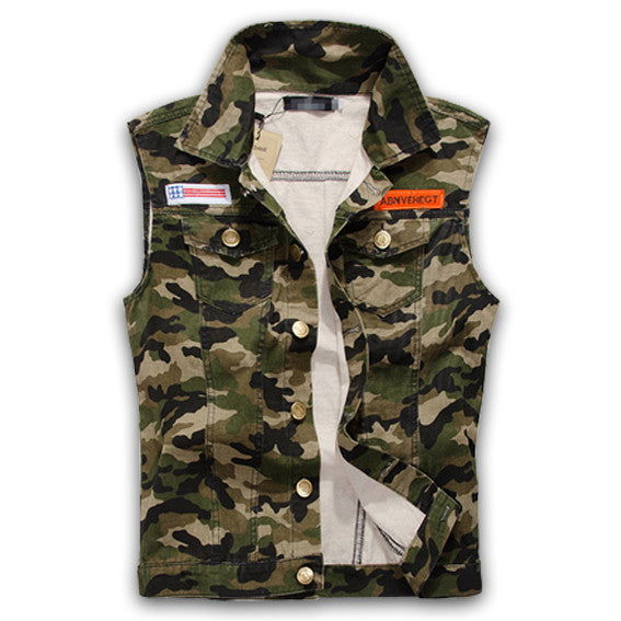 Camo Military Style Streetwear Vest Front