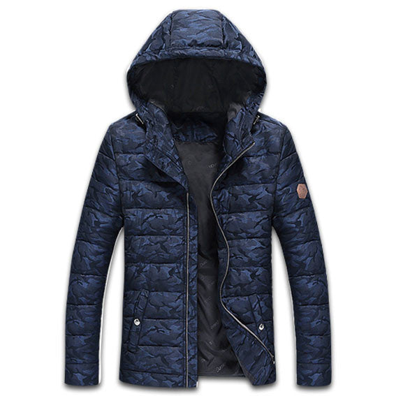 Camo Parka Winter Jacket Navy Blue