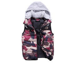 Camo Vest with Cotton Hoody Red