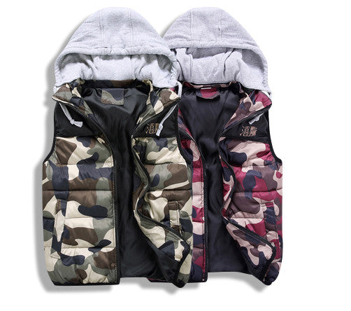 Camo Vest with Cotton Hoody