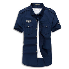 Cargo Short Sleeve Military Button Up Navy Blue