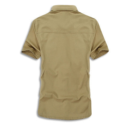 Cargo Short Sleeve Military Button Up Back