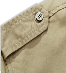 Cargo Short Sleeve Military Button Up Shoulder Closeup