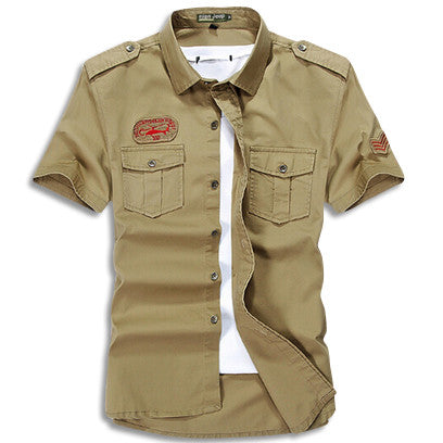 Cargo Short Sleeve Military Button Up Khaki