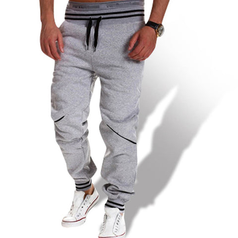 Casual Cotton Stripe Joggers White