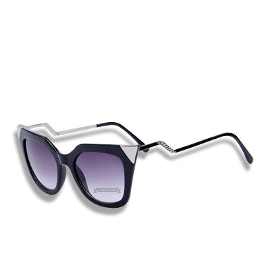 Cat Eye Temple Sunglasses Black