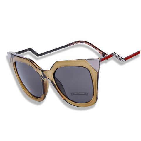 Cat Eye Temple Sunglasses Brown