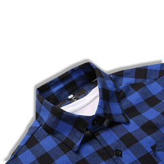 Classic Flannel Shirt Blue Collar