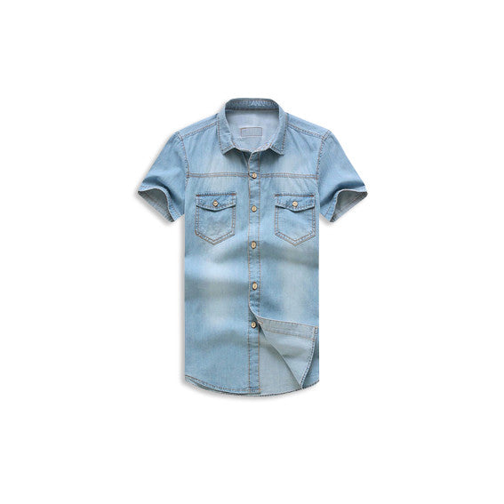 Denim Jean Street Button Up Shirt Front
