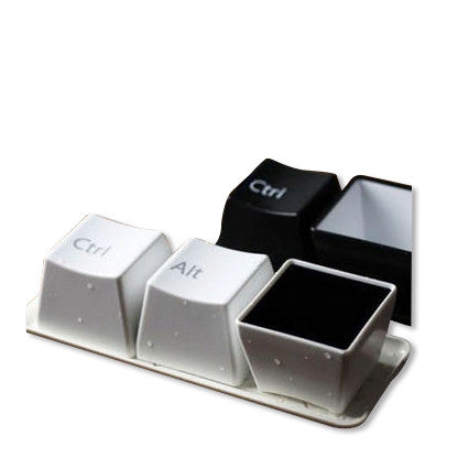Coffee Tea Food Soup Keyboard Bowls 3pc Set + Tray White