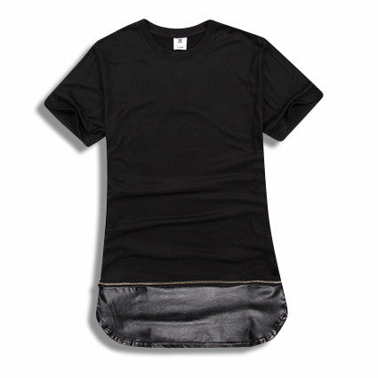 Cotton and Extended Removable Leather Shirt Black