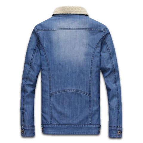 Denim Jacket with Wool Interior Back