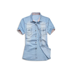 Denim Jean Button Up Shirt Light Blue