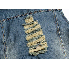 Desert Storm Denim Vest Hoodie Distressed Closeup