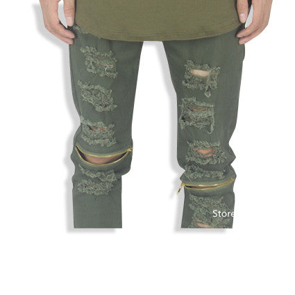 Distressed Biker Jeans with Zipper Knees Olive