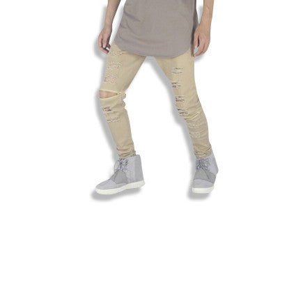 Distressed Biker Jeans with Zipper Knees Sand