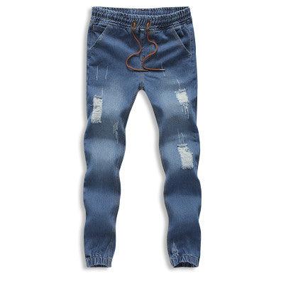 Distressed Denim Cotton Drawstring Joggers Blue