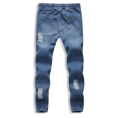 Distressed Denim Cotton Drawstring Joggers Back