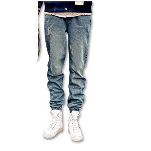 Distressed Denim Skinny Joggers Blue