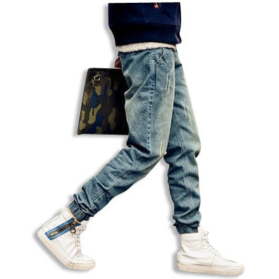 Distressed Denim Skinny Joggers Sideview