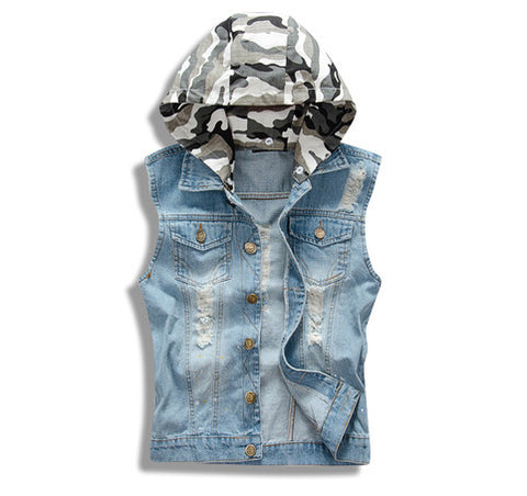 Distressed Denim Vest with Detachable Camo Hoodie Front