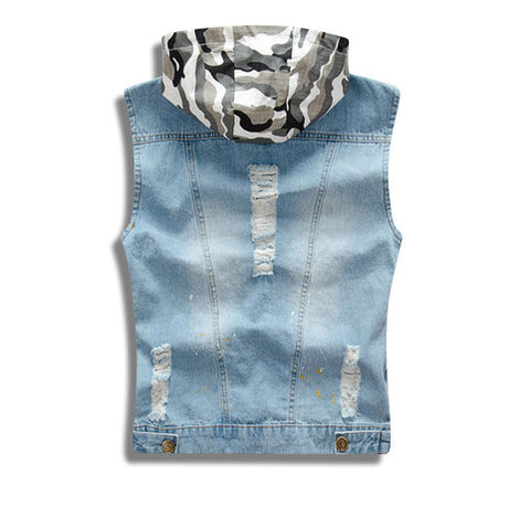 Distressed Denim Vest with Detachable Camo Hoodie Back