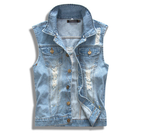 Distressed Denim Vest with Detachable Camo Hoodie Removed