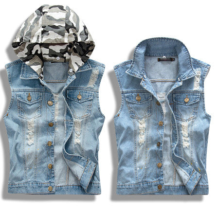 Distressed Denim Vest with Detachable Camo Hoodie